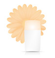 bottle of cream with orange flower on white vector image vector image