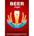 Brewery Label with light beer glass and malt vector image vector image