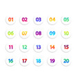 bullet icons numbers in white circle round vector image vector image