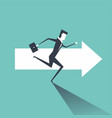 businessman running on the arrows towards vector image vector image