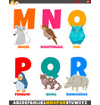 cartoon alphabet set with funny animal characters vector image vector image