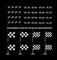 checkered racing flag set on black vector image vector image