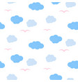 cute seamless pattern with clouds hearts and vector image vector image