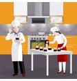 flat cooking people in restaurant composition vector image