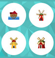 flat icon alternative set of watermill rural vector image