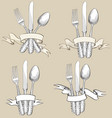 fork knife spoon hand drawing sketch set cutlery vector image