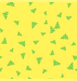 green christmas tree on a yellow background vector image vector image