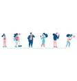 group people in queue social distancing vector image