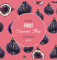 hand drawn fruit pattern card with fig vector image vector image