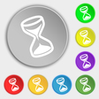 hourglass icon sign Symbol on eight flat buttons vector image vector image