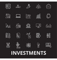 investment editable line icons set on black vector image vector image
