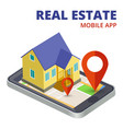 isometric real estate mobile app with phone and 3d vector image vector image