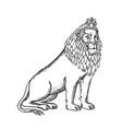 lion sitting wearing tiara etching black and white vector image vector image