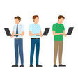 men set standing full length working on laptop vector image vector image
