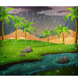 nature scene with rainy day in field vector image vector image