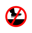 no step on the surface prohibition sign vector image vector image