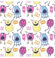 Pattern with cute monsters vector image vector image