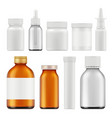 pharmaceutical white bottles blank medicament vector image