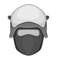 policeman head in a face mask icon monochrome vector image vector image