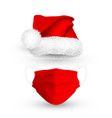 red santa claus hat and medical face mask vector image