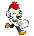 rooster character on running and holding a box vector image vector image