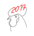 rooster head 2017 vector image vector image