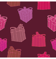 seamless hand drawn pink present pattern vector image