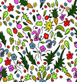seamless pattern colorful garden with rabbits and vector image vector image