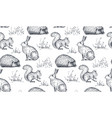 seamless pattern with hand drawn animals vector image
