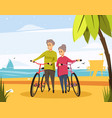 senior old couple on beach with bicycles vector image vector image
