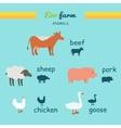 set domestic animals flat design vector image vector image