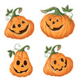 set of halloween pumpkins funny faces autumn vector image vector image
