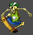 skateboard skull isolated grey background - hand d vector image vector image