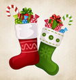 Stocking with gifts vector image vector image