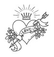 tattoo heart pierced by arrow with crown ribbon vector image vector image