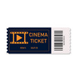 ticket cinema for movie on concert theater vector image