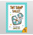 Toy shop sale flyer design with toy puzzle for vector image vector image
