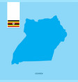 uganda country map with flag over blue background vector image