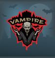 vampire emblem on a dark background vector image vector image