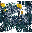 yellow tropical flowers and monster leaves vector image vector image