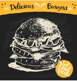 Drawn burger hamburger sketch vector image