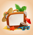 advertisement on travel suitcase vector image