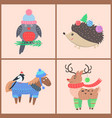 set of icons with animals on vector image