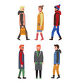 people in winter coats profile and front view icon vector image