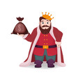 a king with a bag of money in his hand vector image vector image
