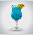 abstract polygonal tirangle cocktail blue hawaii vector image vector image