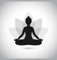 black and white yoga icon vector image vector image