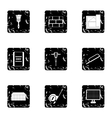 Building tools icons set grunge style vector image vector image