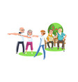 cartoon image people in suits doing exercises vector image