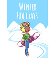 Cheerful boy posing with snowboard in a ski suit vector image vector image